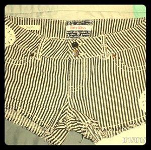 Pinstripe jean shorts